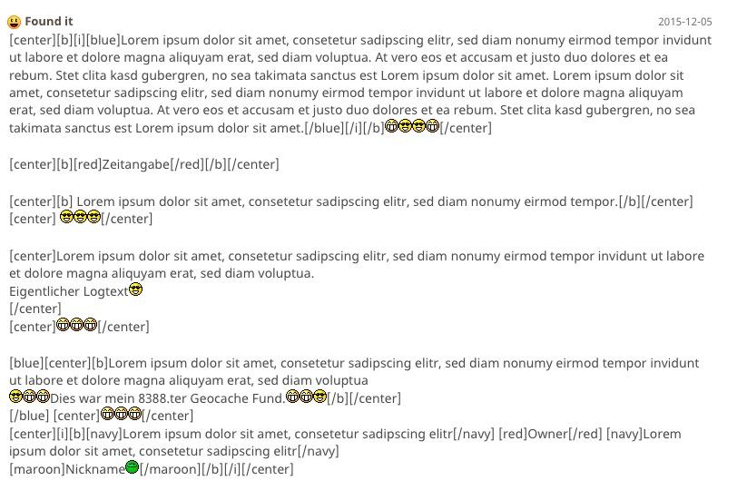 Text loremifiziert, falls es niemand bemerkt hat, der eigentliche Logtext ist aber wirklich vorhanden. Screenshot: geoaching.com